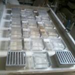 pannelli pre fabricati  calpestabili  con vetromattoni marca fidenza vetroarredo cm   14,5 x 14,5